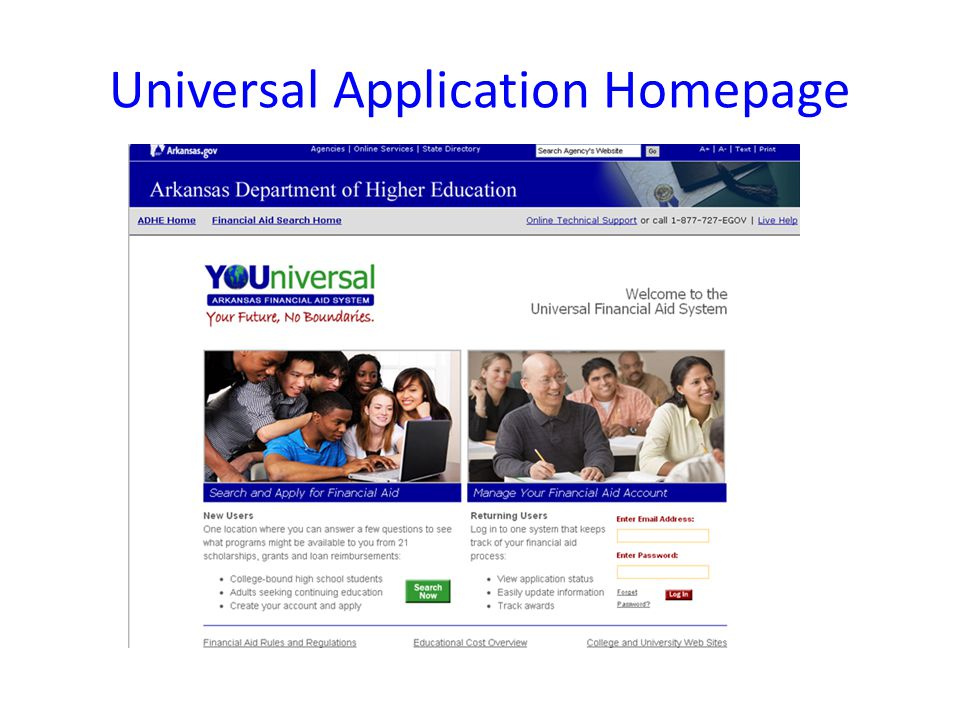 Universal Application Homepage