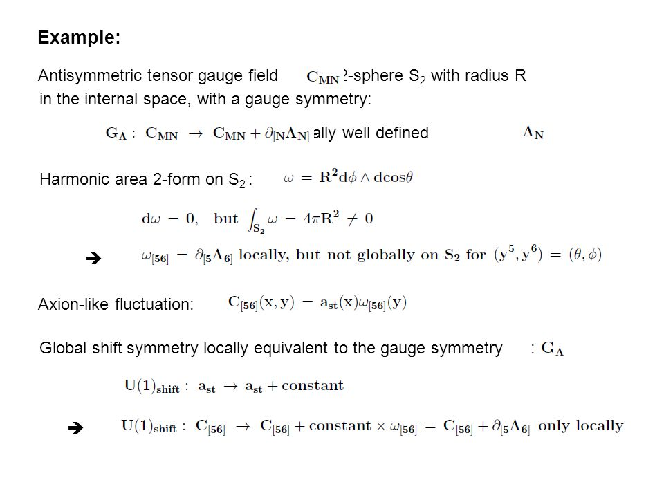 Example: Antisymmetric tensor gauge field on 2-sphere S 2 with radius R in the internal space, with a gauge symmetry: for globally well defined Harmonic area 2-form on S 2 :  Axion-like fluctuation: Global shift symmetry locally equivalent to the gauge symmetry : 