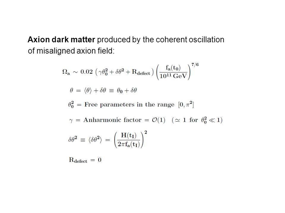 Axion dark matter produced by the coherent oscillation of misaligned axion field:
