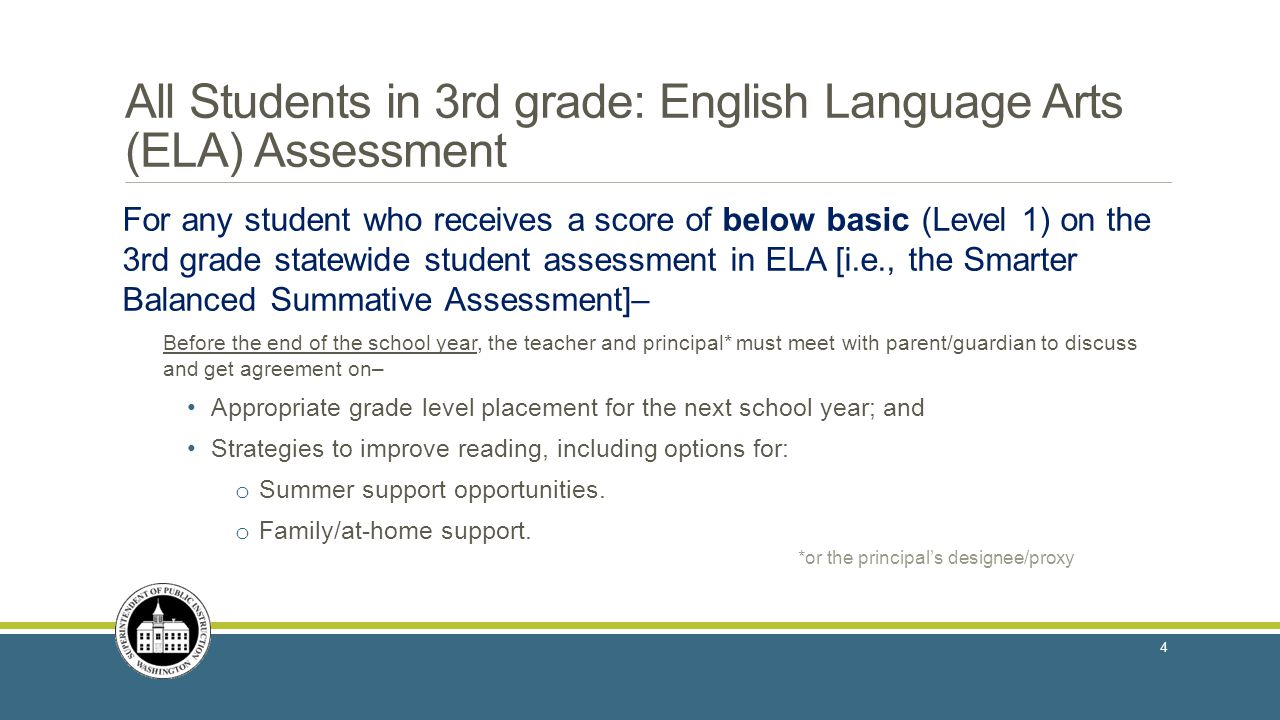 All Students in 3rd grade: English Language Arts (ELA) Assessment For any student who receives a score of below basic (Level 1) on the 3rd grade statewide student assessment in ELA [i.e., the Smarter Balanced Summative Assessment]– Before the end of the school year, the teacher and principal* must meet with parent/guardian to discuss and get agreement on– Appropriate grade level placement for the next school year; and Strategies to improve reading, including options for: o Summer support opportunities.