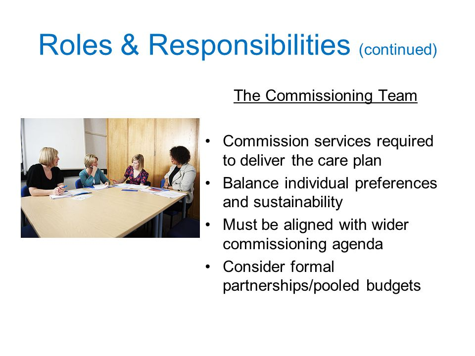 Roles & Responsibilities (continued) The Commissioning Team Commission services required to deliver the care plan Balance individual preferences and sustainability Must be aligned with wider commissioning agenda Consider formal partnerships/pooled budgets