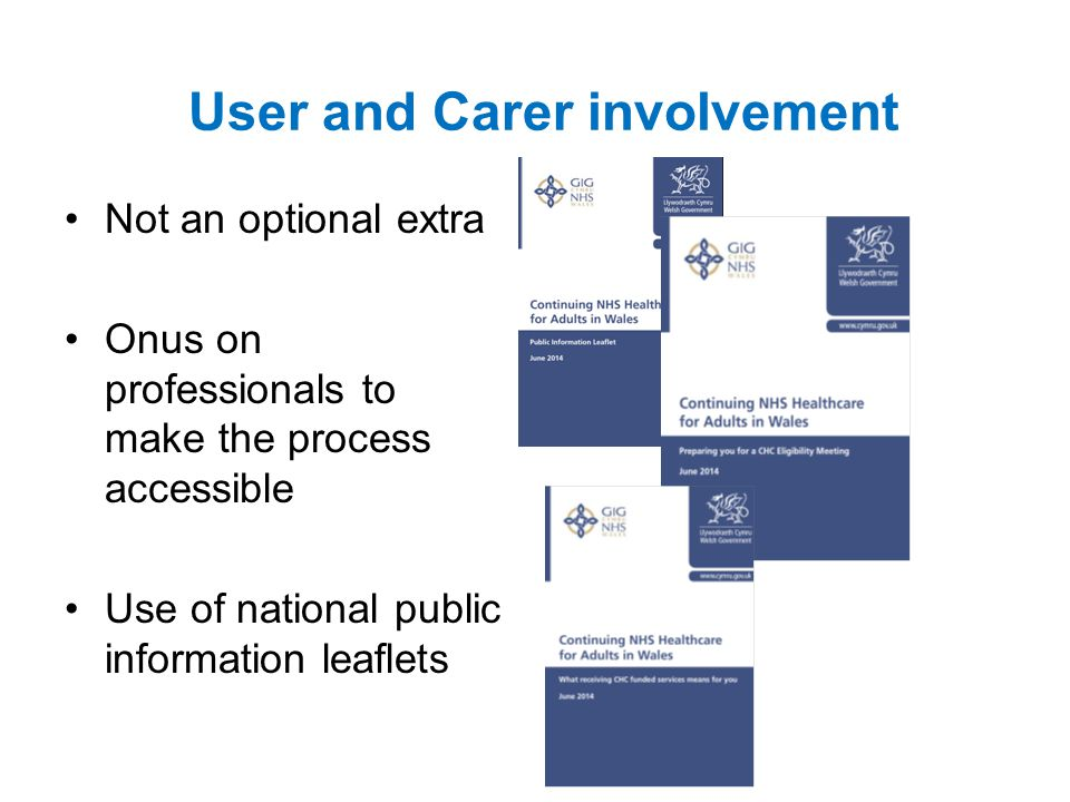 User and Carer involvement Not an optional extra Onus on professionals to make the process accessible Use of national public information leaflets