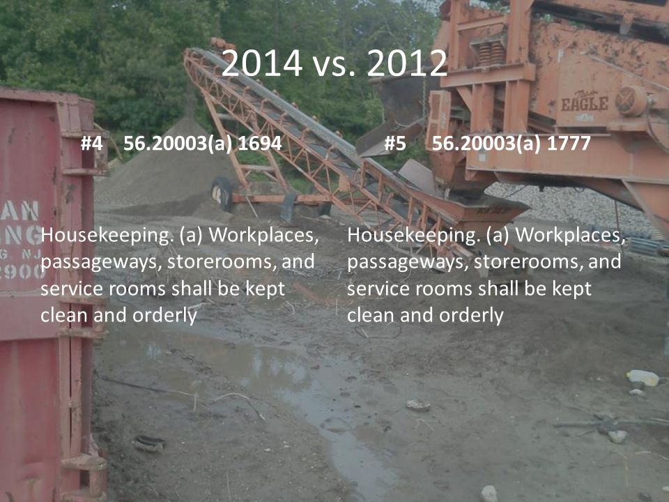 2014 vs. 2012 #4 56.20003(a) 1694#5 56.20003(a) 1777 Housekeeping. (a) Workplaces, passageways, storerooms, and service rooms shall be kept clean and