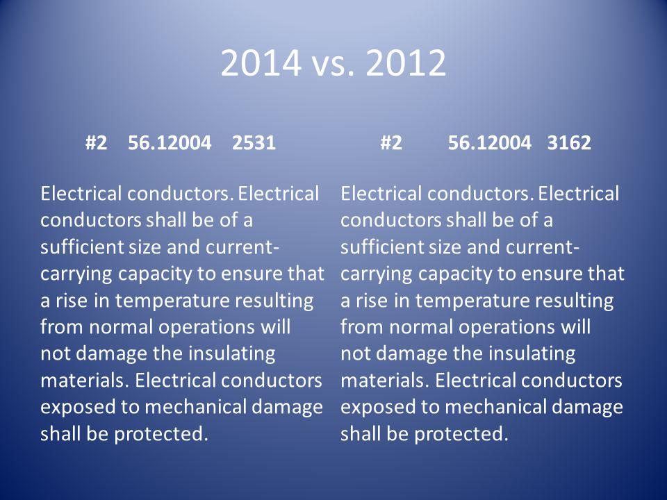 2014 vs.2012 #2 56.12004 2531#2 56.12004 3162 Electrical conductors.