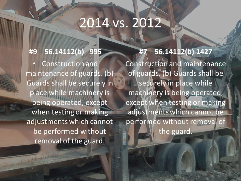 2014 vs.2012 #9 56.14112(b) 995 Construction and maintenance of guards.