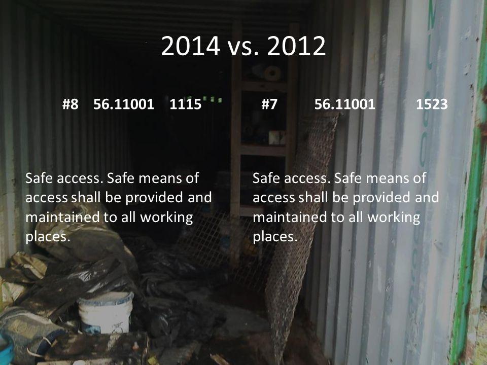 2014 vs.2012 #8 56.11001 1115#7 56.11001 1523 Safe access.