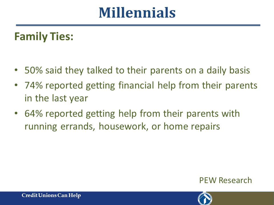Millennials Credit Unions Can Help Family Ties: 50% said they talked to their parents on a daily basis 74% reported getting financial help from their parents in the last year 64% reported getting help from their parents with running errands, housework, or home repairs PEW Research