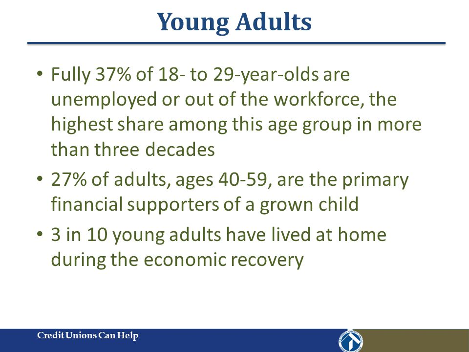Young Adults Credit Unions Can Help Fully 37% of 18- to 29-year-olds are unemployed or out of the workforce, the highest share among this age group in more than three decades 27% of adults, ages 40-59, are the primary financial supporters of a grown child 3 in 10 young adults have lived at home during the economic recovery