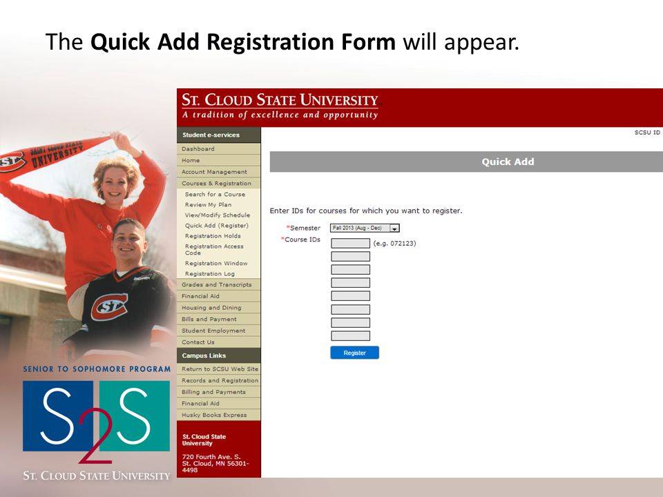 The Quick Add Registration Form will appear.