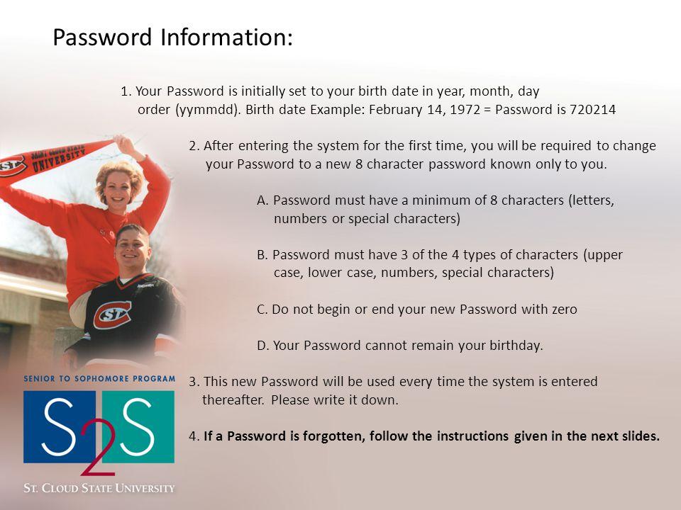 Password Information: 1.