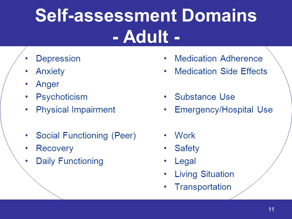 Self-assessment Domains - Adult - Depression Anxiety Anger Psychoticism Physical Impairment Social Functioning (Peer) Recovery Daily Functioning Medic