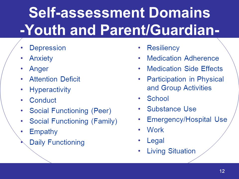 Self-assessment Domains -Youth and Parent/Guardian- Depression Anxiety Anger Attention Deficit Hyperactivity Conduct Social Functioning (Peer) Social