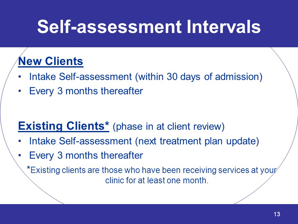 Self-assessment Intervals New Clients Intake Self-assessment (within 30 days of admission) Every 3 months thereafter Existing Clients* (phase in at cl