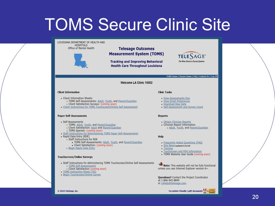 TOMS Secure Clinic Site 20