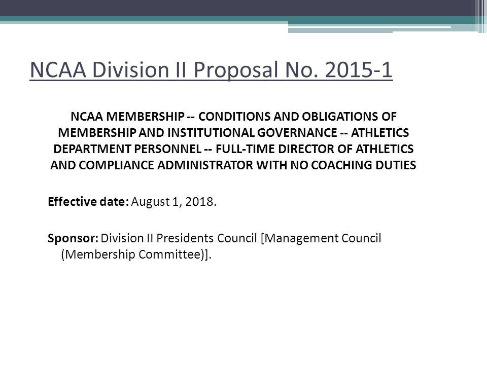 NCAA Division II Proposal No.