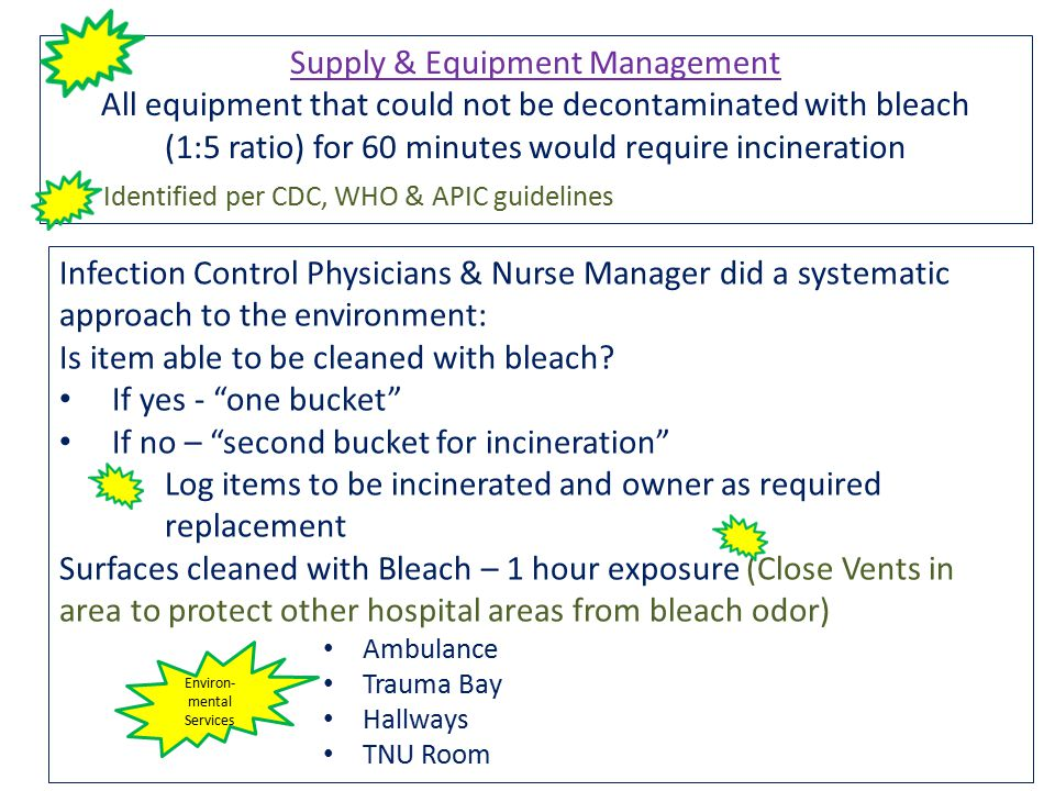 Infection Control Physicians & Nurse Manager did a systematic approach to the environment: Is item able to be cleaned with bleach.