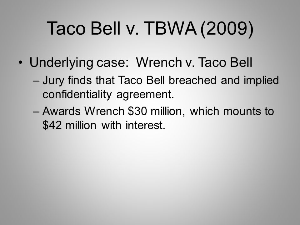 Taco Bell v. TBWA (2009) Underlying case: Wrench v.
