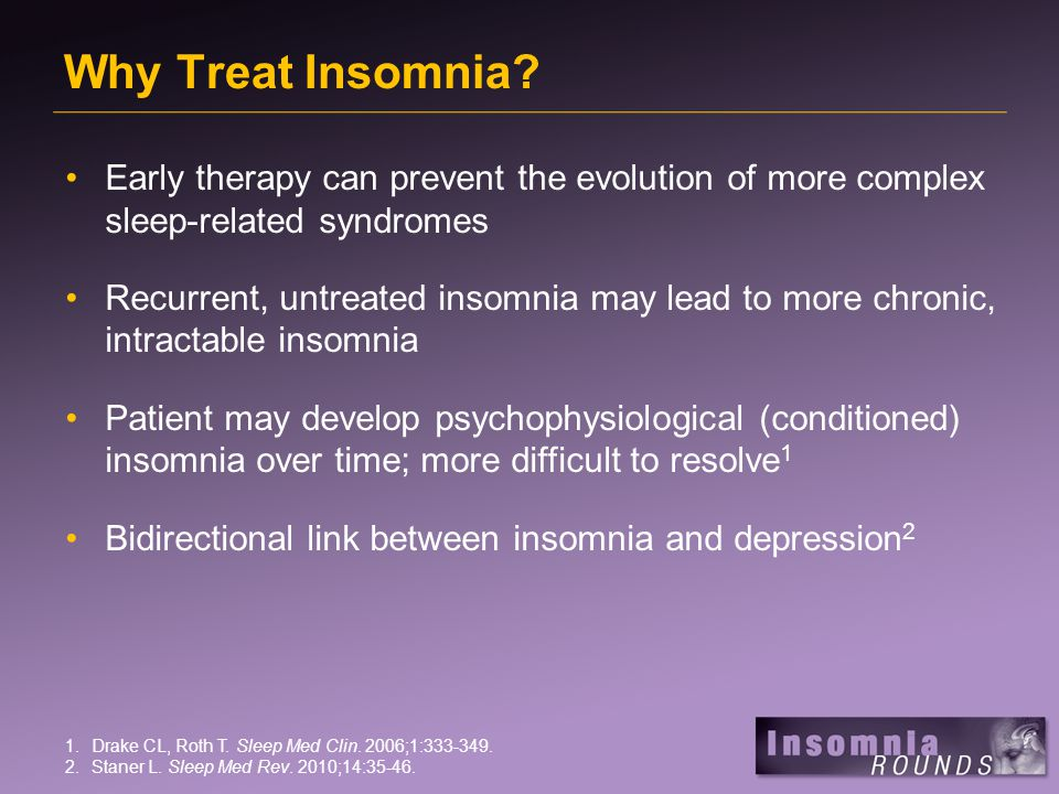 Why Treat Insomnia.