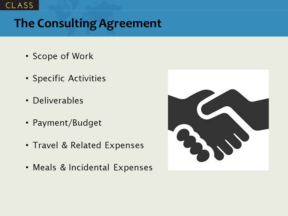 Scope of Work Specific Activities Deliverables Payment/Budget Travel & Related Expenses Meals & Incidental Expenses The Consulting Agreement