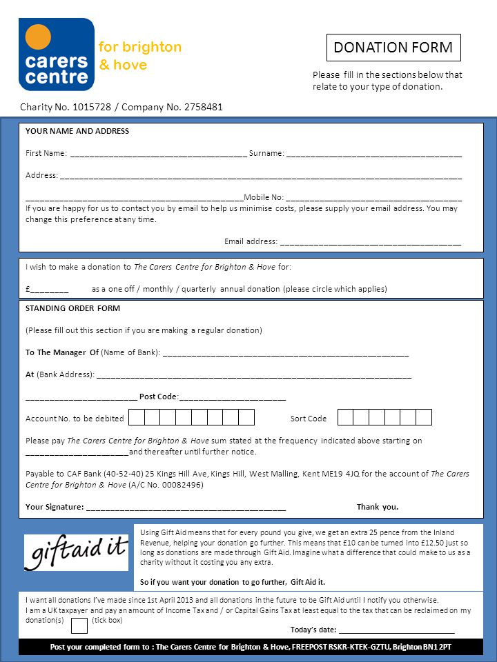 for brighton & hove DONATION FORM Please fill in the sections below that relate to your type of donation.