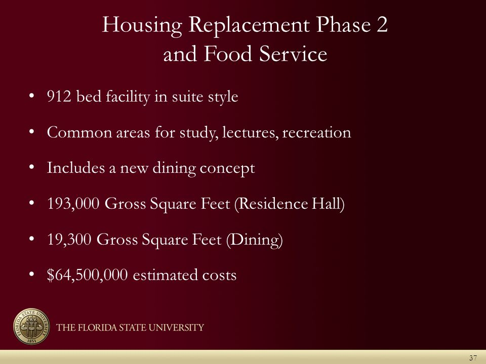 Housing Replacement Phase 2 and Food Service 912 bed facility in suite style Common areas for study, lectures, recreation Includes a new dining concept 193,000 Gross Square Feet (Residence Hall) 19,300 Gross Square Feet (Dining) $64,500,000 estimated costs 37