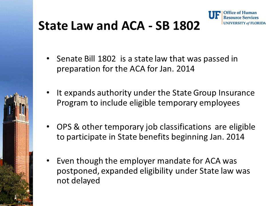 State Law and ACA - SB 1802 Senate Bill 1802 is a state law that was passed in preparation for the ACA for Jan.