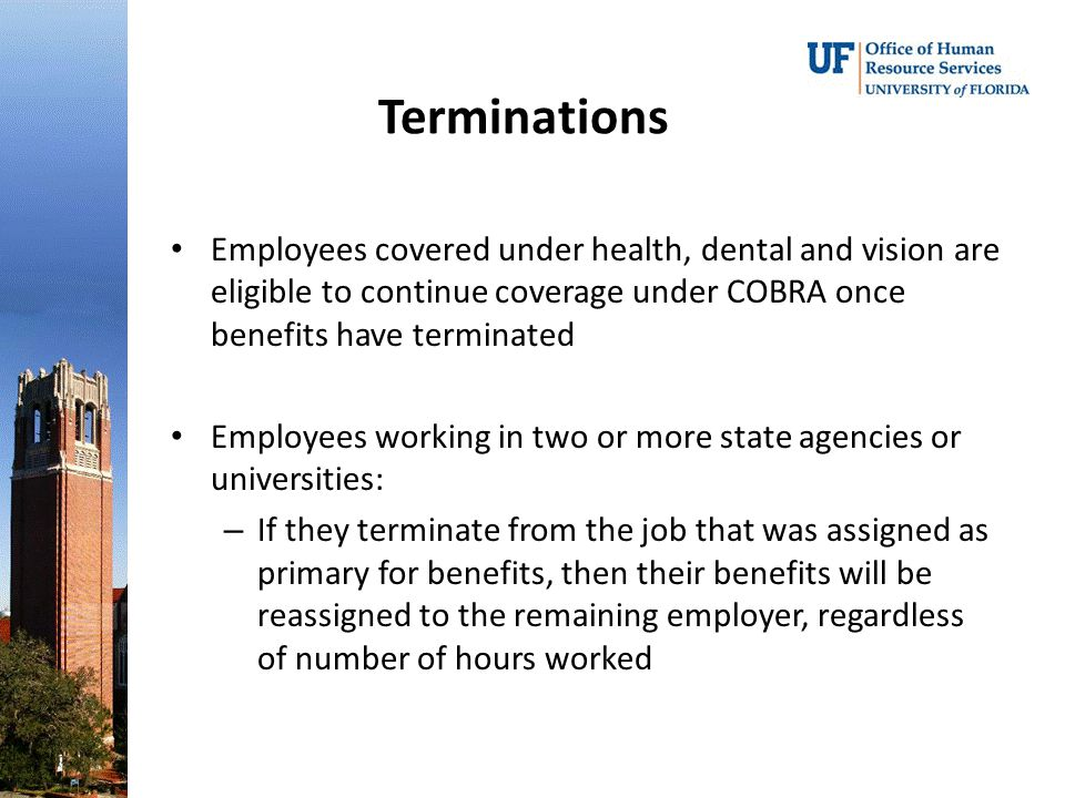 Terminations Employees covered under health, dental and vision are eligible to continue coverage under COBRA once benefits have terminated Employees working in two or more state agencies or universities: – If they terminate from the job that was assigned as primary for benefits, then their benefits will be reassigned to the remaining employer, regardless of number of hours worked