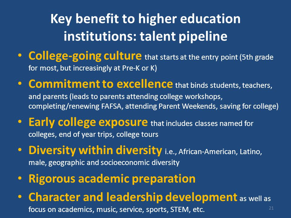 Key benefit to higher education institutions: talent pipeline College-going culture that starts at the entry point (5th grade for most, but increasing