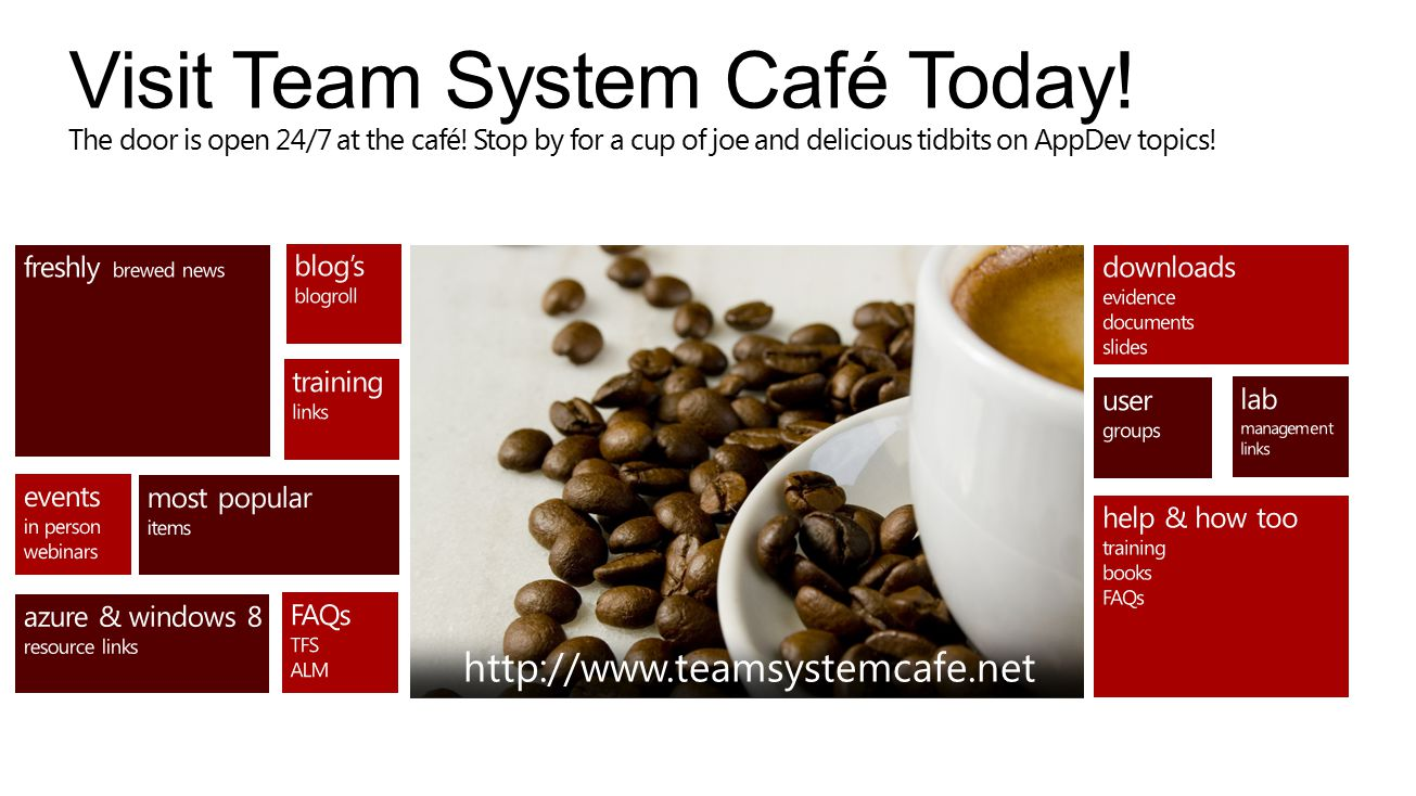 Visit Team System Café Today. The door is open 24/7 at the café.
