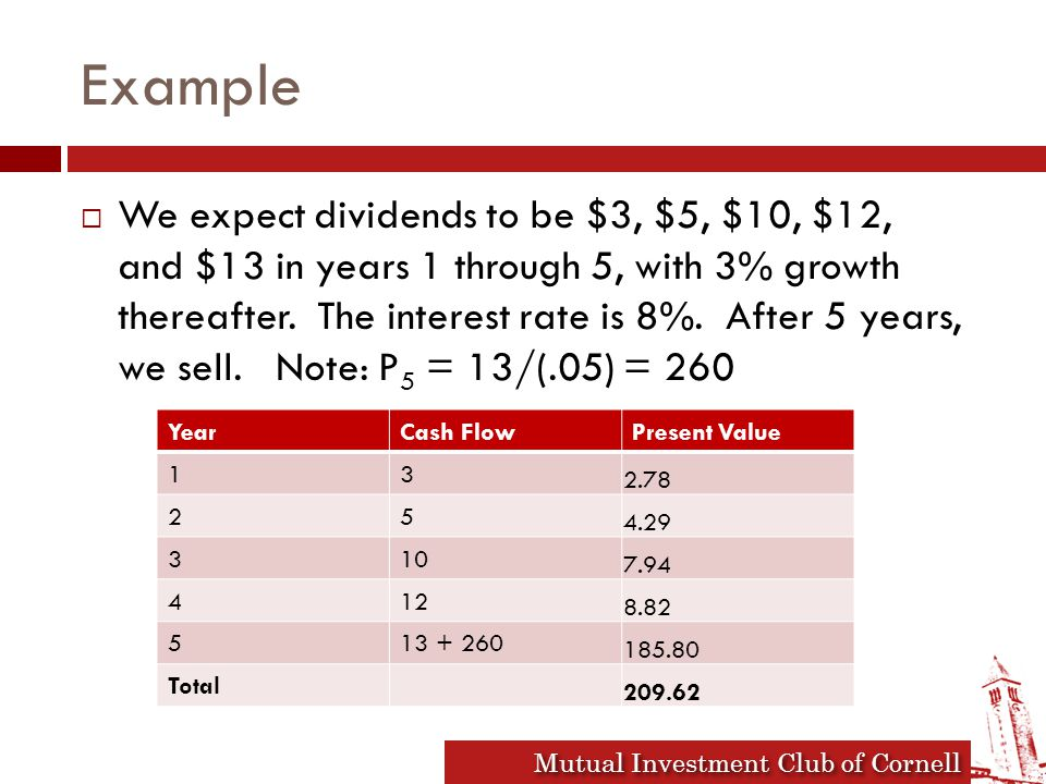 Mutual Investment Club of Cornell Example  We expect dividends to be $3, $5, $10, $12, and $13 in years 1 through 5, with 3% growth thereafter.