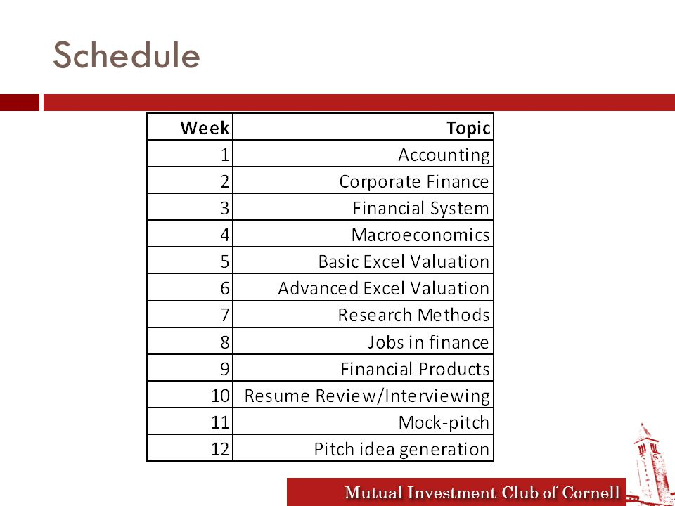 Mutual Investment Club of Cornell Schedule