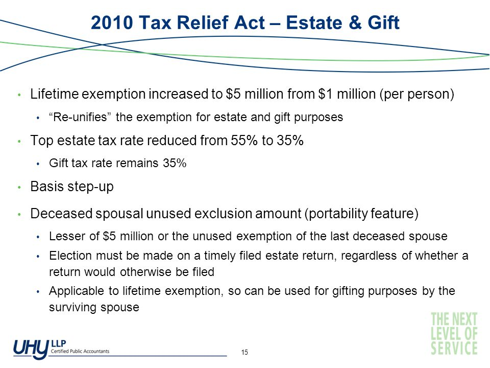 2010 Tax Relief Act – Estate & Gift Lifetime exemption increased to $5 million from $1 million (per person) Re-unifies the exemption for estate and gift purposes Top estate tax rate reduced from 55% to 35% Gift tax rate remains 35% Basis step-up Deceased spousal unused exclusion amount (portability feature) Lesser of $5 million or the unused exemption of the last deceased spouse Election must be made on a timely filed estate return, regardless of whether a return would otherwise be filed Applicable to lifetime exemption, so can be used for gifting purposes by the surviving spouse 15