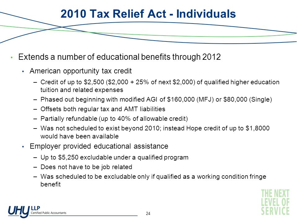 2010 Tax Relief Act - Individuals Extends a number of educational benefits through 2012 American opportunity tax credit –Credit of up to $2,500 ($2,000 + 25% of next $2,000) of qualified higher education tuition and related expenses –Phased out beginning with modified AGI of $160,000 (MFJ) or $80,000 (Single) –Offsets both regular tax and AMT liabilities –Partially refundable (up to 40% of allowable credit) –Was not scheduled to exist beyond 2010; instead Hope credit of up to $1,8000 would have been available Employer provided educational assistance –Up to $5,250 excludable under a qualified program –Does not have to be job related –Was scheduled to be excludable only if qualified as a working condition fringe benefit 24