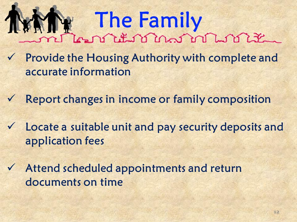 The Family Provide the Housing Authority with complete and accurate information Report changes in income or family composition Locate a suitable unit and pay security deposits and application fees Attend scheduled appointments and return documents on time 12