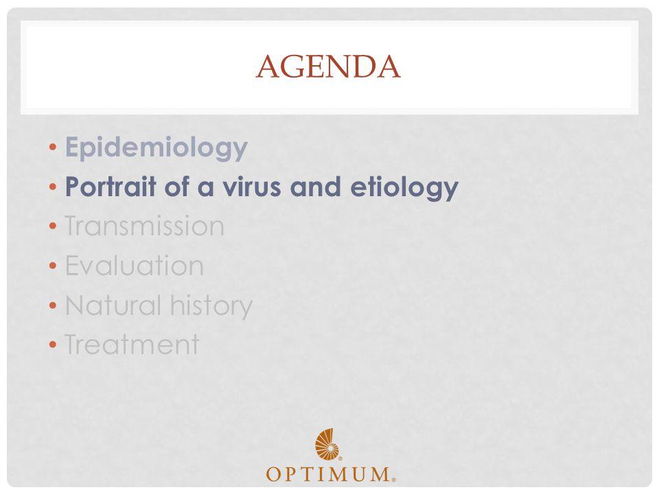 AGENDA Epidemiology Portrait of a virus and etiology Transmission Evaluation Natural history Treatment