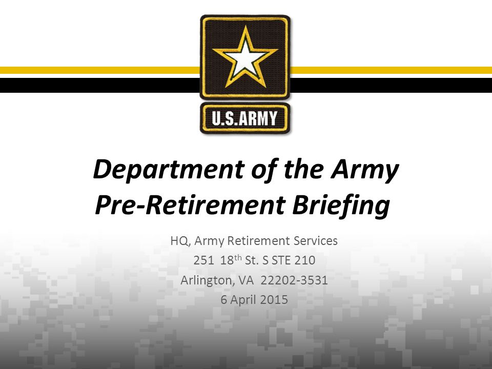 HQ, Army Retirement Services 251 18 th St.