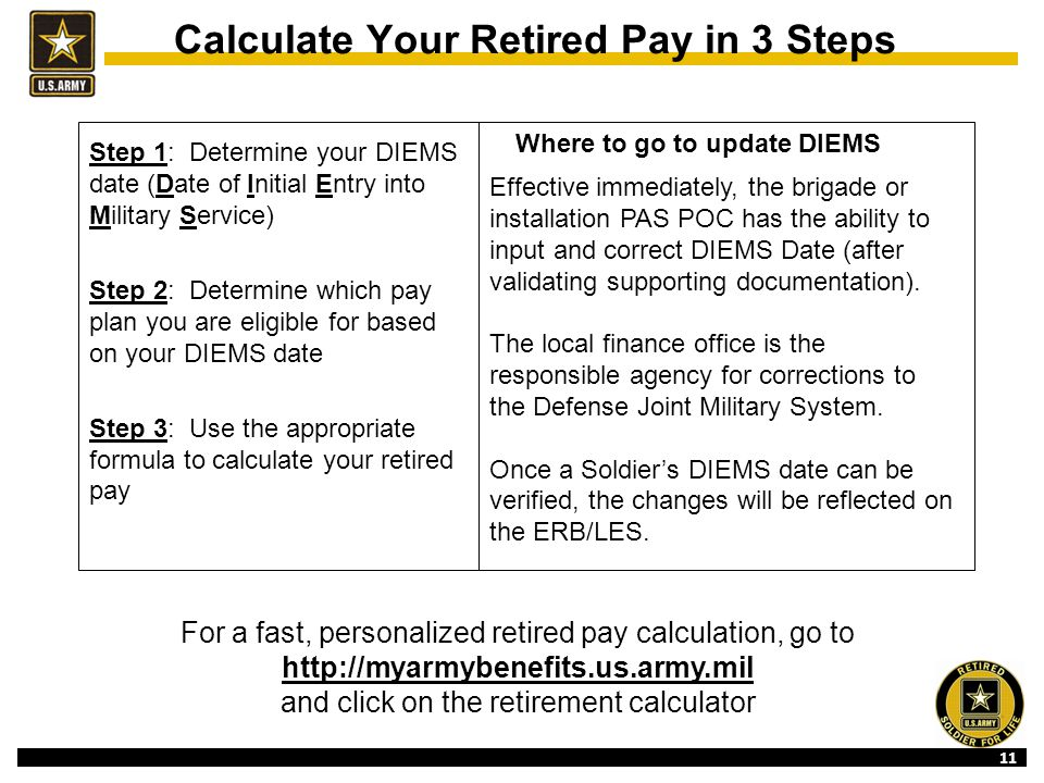 11 Calculate Your Retired Pay in 3 Steps Step 1: Determine your DIEMS date (Date of Initial Entry into Military Service) Step 2: Determine which pay plan you are eligible for based on your DIEMS date Step 3: Use the appropriate formula to calculate your retired pay Effective immediately, the brigade or installation PAS POC has the ability to input and correct DIEMS Date (after validating supporting documentation).