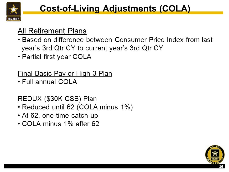 16 Cost-of-Living Adjustments (COLA) All Retirement Plans Based on difference between Consumer Price Index from last year's 3rd Qtr CY to current year's 3rd Qtr CY Partial first year COLA Final Basic Pay or High-3 Plan Full annual COLA REDUX ($30K CSB) Plan Reduced until 62 (COLA minus 1%) At 62, one-time catch-up COLA minus 1% after 62