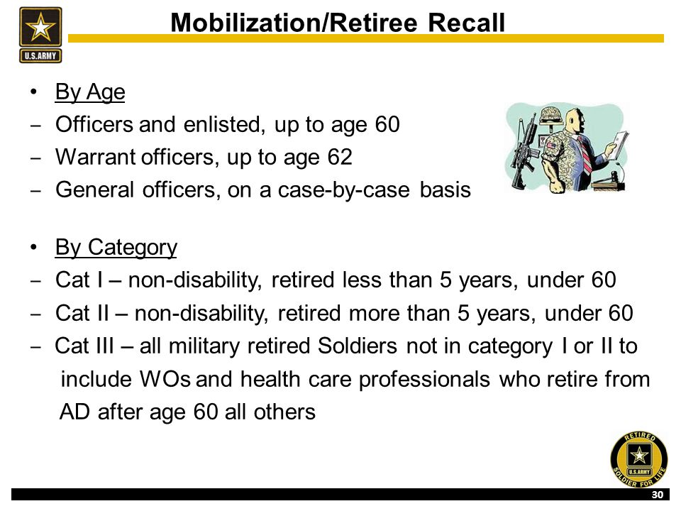 30 Mobilization/Retiree Recall By Age ‒ Officers and enlisted, up to age 60 ‒ Warrant officers, up to age 62 ‒ General officers, on a case-by-case basis By Category ‒ Cat I – non-disability, retired less than 5 years, under 60 ‒ Cat II – non-disability, retired more than 5 years, under 60 ‒ Cat III – all military retired Soldiers not in category I or II to include WOs and health care professionals who retire from AD after age 60 all others