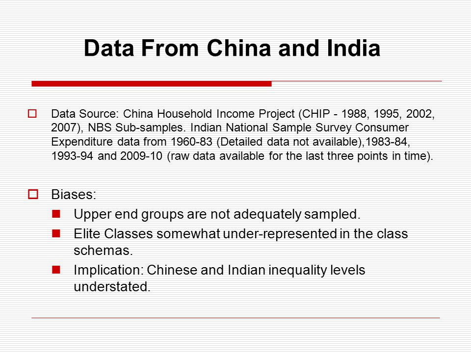 Data From China and India  Data Source: China Household Income Project (CHIP - 1988, 1995, 2002, 2007), NBS Sub-samples.