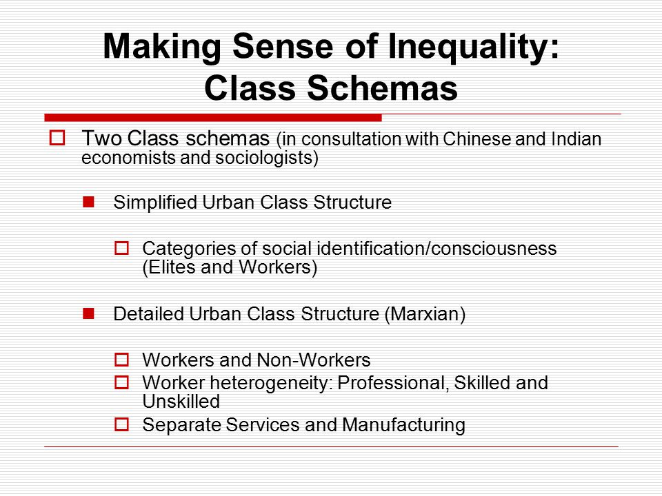 Making Sense of Inequality: Class Schemas  Two Class schemas (in consultation with Chinese and Indian economists and sociologists) Simplified Urban Class Structure  Categories of social identification/consciousness (Elites and Workers) Detailed Urban Class Structure (Marxian)  Workers and Non-Workers  Worker heterogeneity: Professional, Skilled and Unskilled  Separate Services and Manufacturing