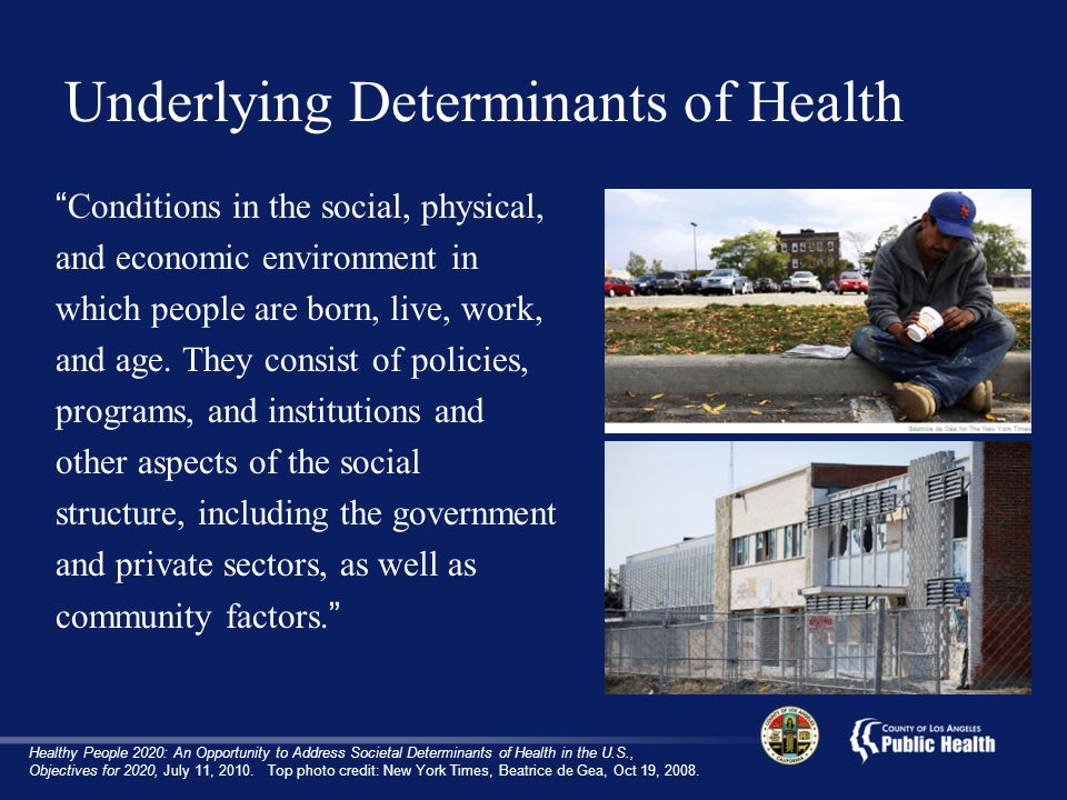 Underlying Determinants of Health Conditions in the social, physical, and economic environment in which people are born, live, work, and age.