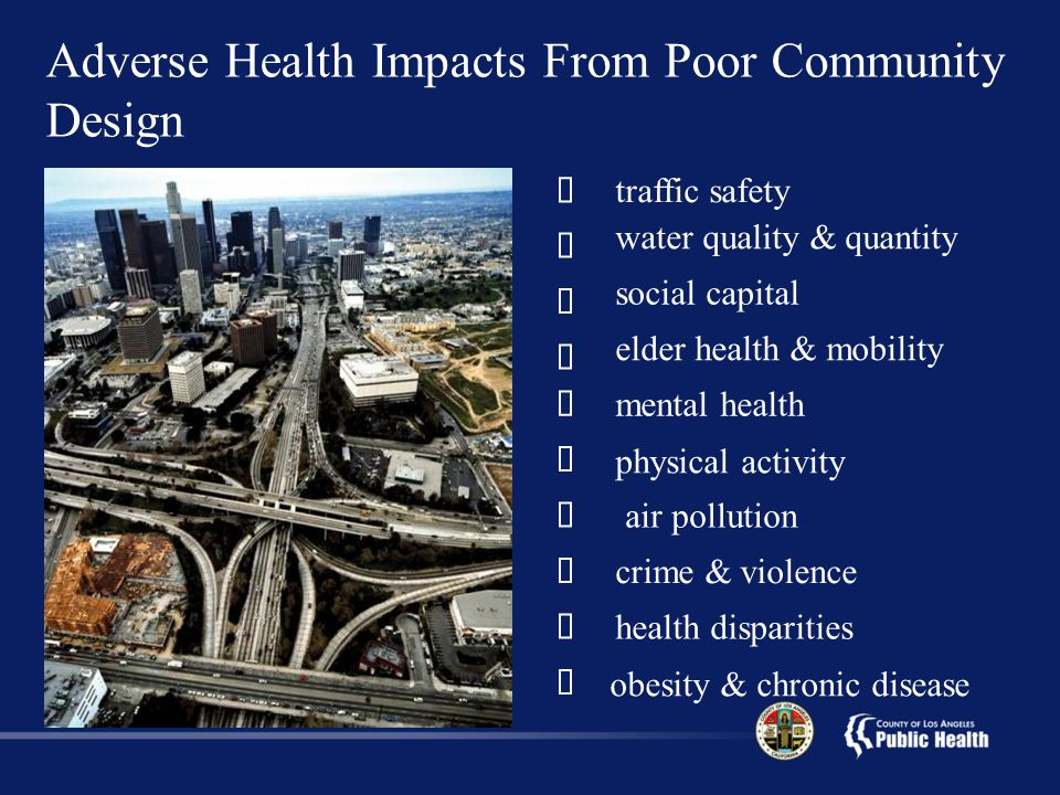 Adverse Health Impacts From Poor Community Design  traffic safety  air pollution  water quality & quantity  obesity & chronic disease  physical activity  crime & violence  social capital  elder health & mobility  mental health  health disparities