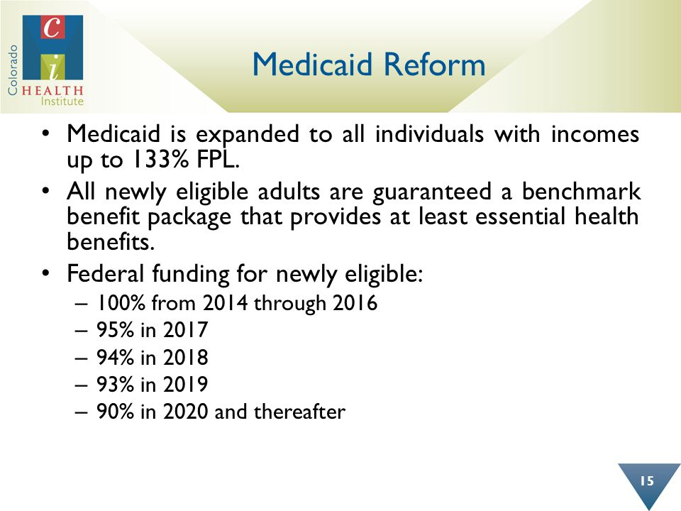 Medicaid Reform Medicaid is expanded to all individuals with incomes up to 133% FPL.
