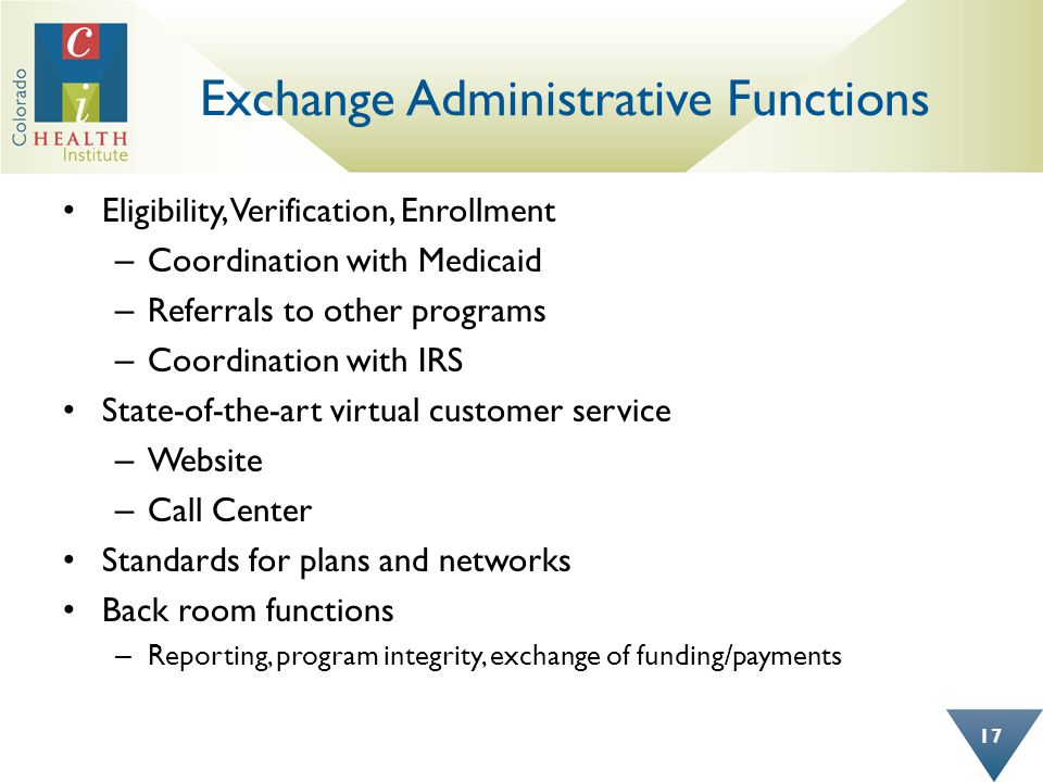 Exchange Administrative Functions Eligibility, Verification, Enrollment – Coordination with Medicaid – Referrals to other programs – Coordination with IRS State-of-the-art virtual customer service – Website – Call Center Standards for plans and networks Back room functions – Reporting, program integrity, exchange of funding/payments 17