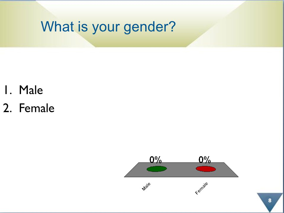 What is your gender 1.Male 2.Female 8