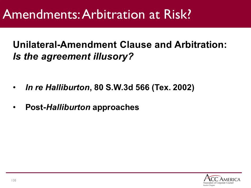 108 Amendments: Arbitration at Risk.
