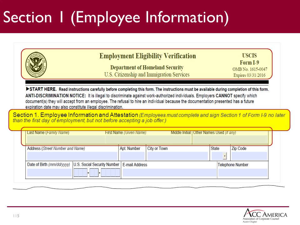 115 Section 1 (Employee Information) Section 1.