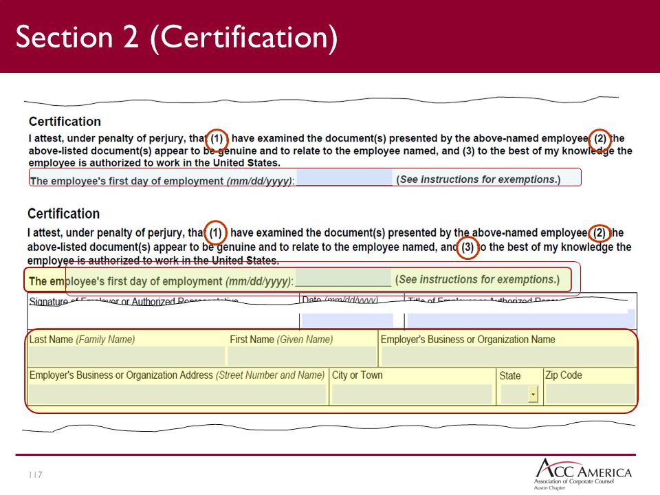 117 Section 2 (Certification)