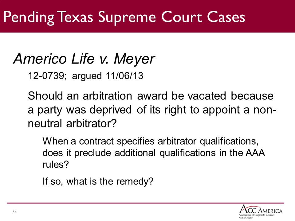54 Pending Texas Supreme Court Cases Americo Life v.